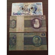 3 Antiguos Billetes S/circ.de Brasil. 5,10 Y 5000 Cruzeiros