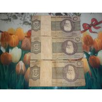 Lote 3 Billetes De 10 Cruzeiros D.pedro Ii P/coleccionistas