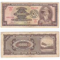 Billete Brasil 10000 Cruzeiros R Resello 10 Nuevos 1967