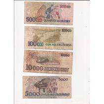 Brasil Lote 4 Billetes 500000 100000 10000 Y 5000 Cruzeiros