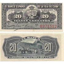 Antiguo Billete De Cuba Del Año 1897 De 20 Centavos Sin Usar