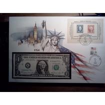 Conmemorativo Billete De 1 Dolar Estampillas 1985