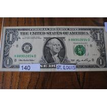 Billete De 1 Dolar Circulado Letra *h* St. Louis