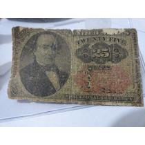 Ee.uu. Antigüo Billete De 25 Centavos De Dolar De 1874
