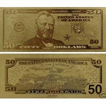 Estados Unidos Billete De 50 Con Baño De Oro 24 Kilates