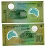 2 Billetes Nicaragua De Plastico 10 Y 20 Cordobas Año 2009