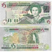 Billete De San Vicente(caribe Del Este)5 Dolares Sin Circul