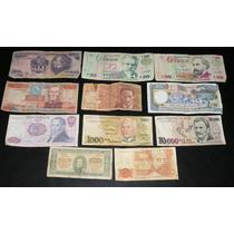 Lote 11 Billetes Antiguos Extranjeros Cruzeiros Pesetas Urug
