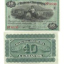 Antiguo Billete Peru Banco De Arequipa 40 Centavos Año 1874