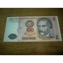 Peru Billete De 100 Intis Año 1987 Sin Circular