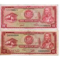 Perú Lote 2 Billetes De 10 Soles De Oro Años 1971/75 Bm 2022