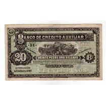 Billete Uruguay Banco Credito Auxiliar 20 Pesos 1887