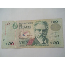 Billete 20 Pesos Uruguayos Moneda Nacional Año 2000