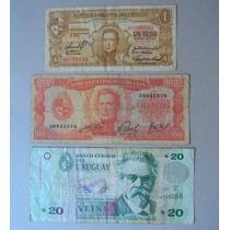 3 Billetes Uruguay 1 Peso Ley1939, 100 P 1967, 20 P 2011