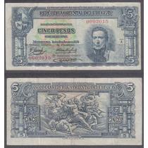 Billete Uruguay 5 Pesos 1939 7 Numeros En Serie