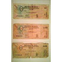Provincia De Salta, Lote Tres Bonos 0,50 - 1 Aus Y 1000 Peso