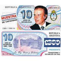 Billete Argentino Menem Trucho10 Sin Circular Palermo-
