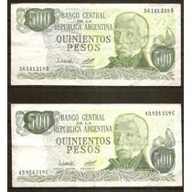 Billete De Argentina 500 Pesos Precio Total Por Los 2 Usados