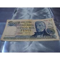 Billete Argentino Antiguo De 5 Mil Pesos Argentinos