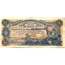 Billete Argentina 1 Peso 1891 Bco Pcia. De Bs As 1891