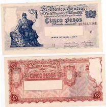 Billete 5 Pesos Progreso Bottero 1876 Sin Circular