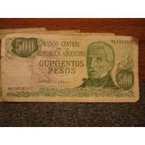Billetes Antiguos 500 Quinientos Pesos Argentinos Lote De 5