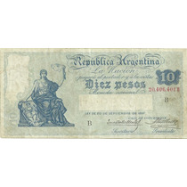 Billete 10 Pesos Caja De Conversion Serie B Muy Bueno