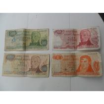 Billetes Antiguos Argentinos De 1, 100, 500 Y 100 Pesos