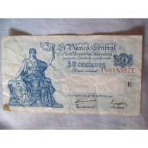 Antiguo Billete Argentino De 50 Ctvos . Moneda Nacional 1947