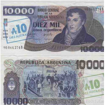 Billete 10.000 Pesos Argentinos Sobrecargado 10 Australes