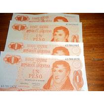 4 Billetes 1 Pesos Ley 18188 S/c 2 Correlativos Letra E