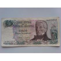 Billete De Cinco Pesos Argentinos