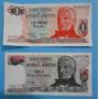 2 Billetes Pesos Argentinos 1 Peso Serie B, 10 Pesos Serie B