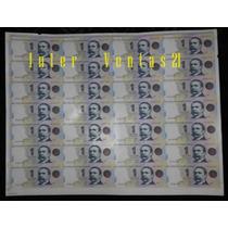 Pliego 28 Billetes 1 Peso Sin Cortar, S/circular -palermo-