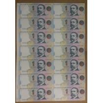Billete $1 Argentina Roseta 1/2 Pliego Sin Cortar Palermo