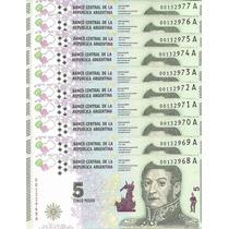 Lote 10 Billetes Argentina 5 Pesos Modelo 2015 S/cir Palermo