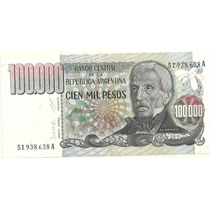 Billete 100.000 Pesos Ley Bottero 2503 Año 1980 Excelente+