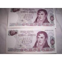 2 Billetes Consecutivos 10 Pesos Ley 18188