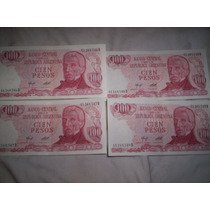 4 Billetes Consecutivos 100 Pesos Ley 18188