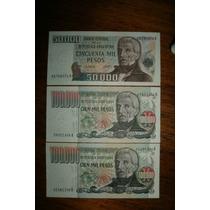 Lote De 3 Billetes Pesos Ley, 50.000 Y 100.000 X2
