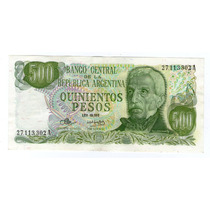 Bottero 2415 Billete 500 Pesos Ley 18.188 Ex+