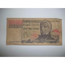 Billete 100.000 Pesos Ley 18188 Serie B