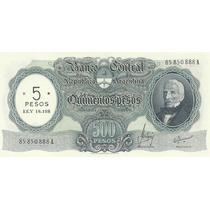 Billete 500 Pesos Moneda Nacional Resellado 5 Pesos Ley