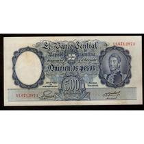Argentina 500 Pesos Moneda Nacional 1952 San Martin Joven