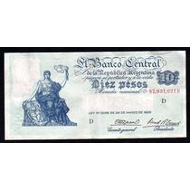 Billete 10 Pesos Moneda Nacional Progreso Bottero 1886 Ex