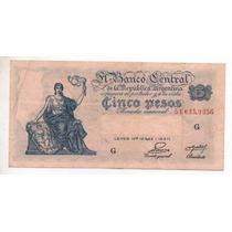 5 Pesos M/n Bottero 1865 Año 1953 M/b Cd 4092