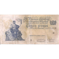 Billete Cinco Pesos Moneda Nacional Bco. Central R Argentina