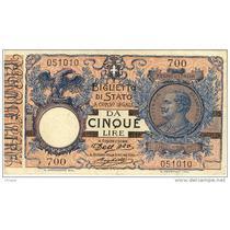 Billete De Italia - 5 Liras - 1904 - En Mendoza
