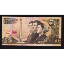 Corea Del Norte 50 Wong 1992 Specimen Sin Circular Liquido