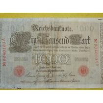 Antiguo Billete 1000 Marcos Alemanes Berlin Reich 1910